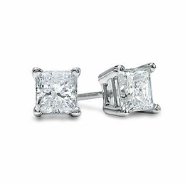 1 2 Ct T W Princess Cut Diamond Solitaire Stud Earrings In