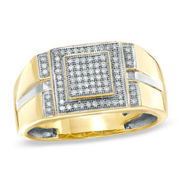 Men's 1/4 CT. T.W. Diamond Micro Cluster Square Stepped Ring in 10K Gold
