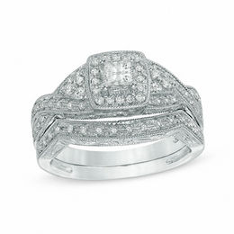 1/2 CT. T.W. Princess-Cut Diamond Twist Bridal Set in 14K White Gold