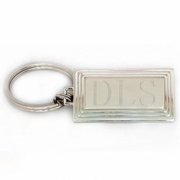 Men's Engravable Stepped Rectangular Key Chain in Brass with White Rhodium (3 Initials)