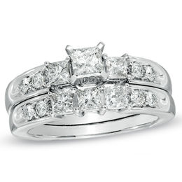 3 CT. T.W. Princess-Cut Diamond Three Stone Bridal Set in 14K White Gold