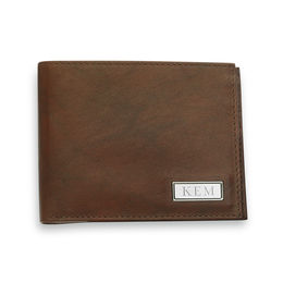Men's Brown Leather Bi-Fold Wallet with Engravable Silver-Tone Plaque (1-3 Initials)