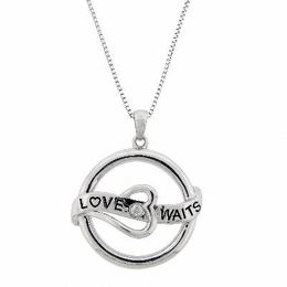 "Diamond Accent ""Love Waits"" Pendant in Sterling Silver"