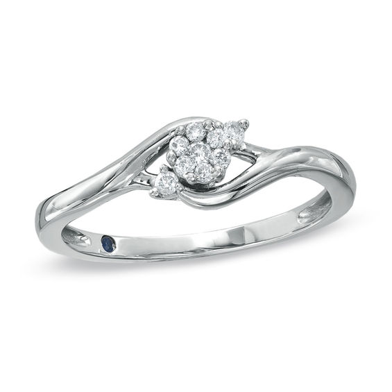 Zales 1/20 CT. T.w. Diamond Three Stone Marquise Bypass Promise Ring in 10K Two-Tone Gold qWvKKIMOg8