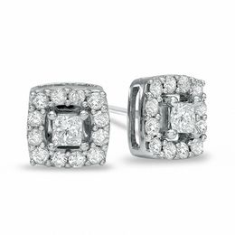 3/4 CT. T.W. Princess-Cut Diamond Frame Stud Earrings in 10K White Gold