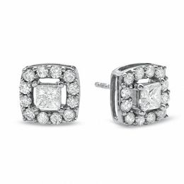 1 CT. T.W. Princess-Cut Diamond Frame Stud Earrings in 10K White Gold