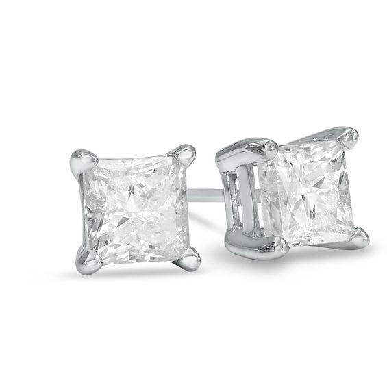 T W Princess Cut Diamond Solitaire Stud Earrings In 14k White Gold