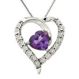 8.0mm Heart-Shaped Amethyst and Diamond Accent Pendant in Sterling Silver