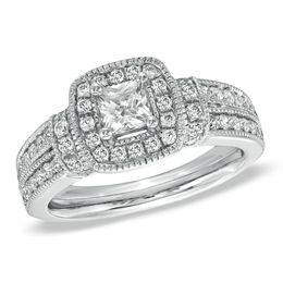 1 CT. T.W. Princess-Cut Diamond Frame Engagement Ring in 14K White Gold