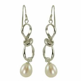 8.5-9.5mm Cultured Freshwater Pearl Drop Earrings in Sterling Silver