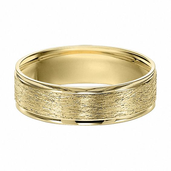 Mens 6.0mm Brushed Wedding Band in 10K Gold