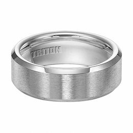 Triton Men's 8.0mm Comfort Fit Beveled Edge Cobalt Wedding Band
