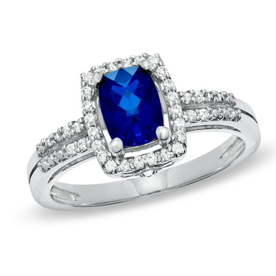 Cushion-Cut Lab-Created Blue and White Sapphire Frame Ring in Sterling Silver
