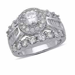 3-1/2 CT. T.W. Baguette and Round Diamond Engagement Ring in 14K White Gold