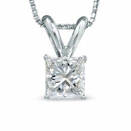 1/2 CT. Certified Princess-Cut Diamond Solitaire Pendant in Platinum (I/VS2)