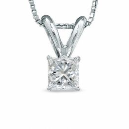 1/4 CT. Certified Princess-Cut Diamond Solitaire Pendant in Platinum (I/VS2)