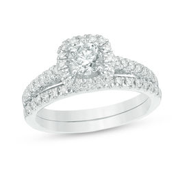 2 CT. T.W. Diamond Frame Bridal Set in 14K White Gold
