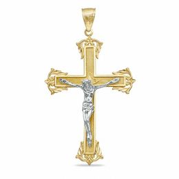 Large Crucifix Charm in 10K Two-Tone Gold
