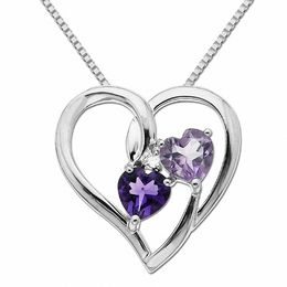 5.0mm Heart-Shaped Purple Amethyst and Diamond Accent Heart Pendant in Sterling Silver
