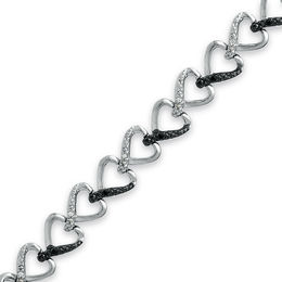 Enhanced Black and White Diamond Accent Heart Bracelet in Sterling Silver
