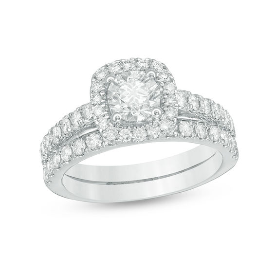 1 CT T W Diamond Frame Bridal Set in 14K White Gold Engagement Rings