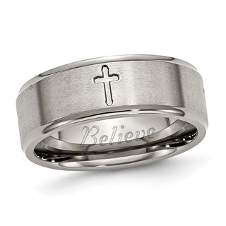 Men S 8 0mm Engraved Cutout Cross Wedding Band In Titanium