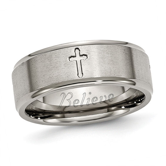 Perfect Men's 8.0mm Engraved Cutout Cross Wedding Band in Titanium (1 Line  TA59