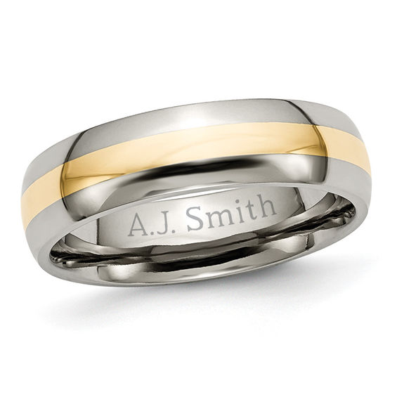 Zales Mens 8.0mm Engraved Titanium with 14K Gold Inlay Wedding Band (22 Characters) WvAPY4B