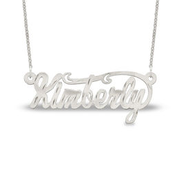 Diamond-Cut Name Necklace in Stainless Steel (1 Line) - 16""