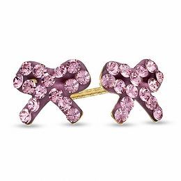 Child's Pink Crystal Bow Stud Earrings in 14K Gold