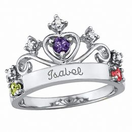 Ladies' Sterling Silver Contessa Simulated Birthstone Ring with Cubic Zirconia by Artcarved® (3 Stones and 1 Line)