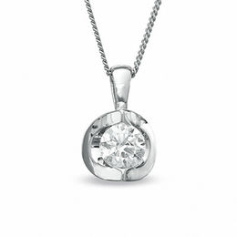 1/5 CT. Certified Canadian Diamond Solitaire Pendant in 14K White Gold (I/I2) - 17""