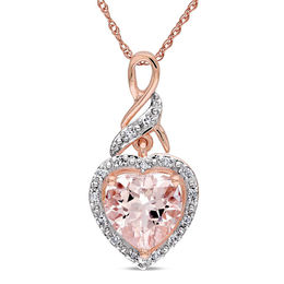 8.0mm Heart-Shaped Pink Morganite and Diamond Accent Pendant in 10K Rose Gold - 17""