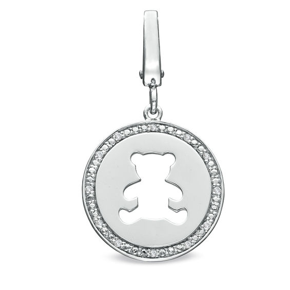 Tiny Toes™ Diamond Accent Teddy Bear Disc Charm in Sterling Silver