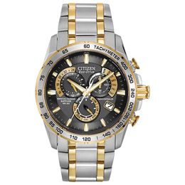 Men's Citizen Eco-Drive® Perpetual Chronograph AT Watch with Black Dial (Model: AT4004-52E)