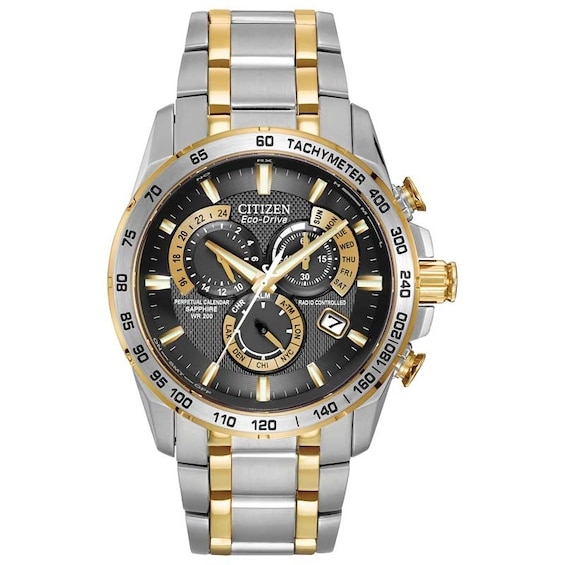 Mens Citizen Eco-Drive® Pcat Chronograph Two-Tone Watch with B
