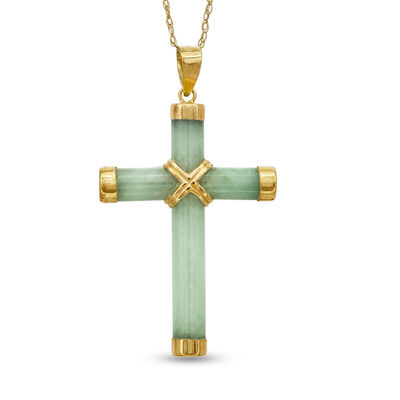 42ed5a37a90a8 Jade Cross Pendant in 14K Gold