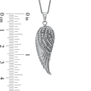 1 10 Ct T W Diamond Angel Wing Pendant In Sterling