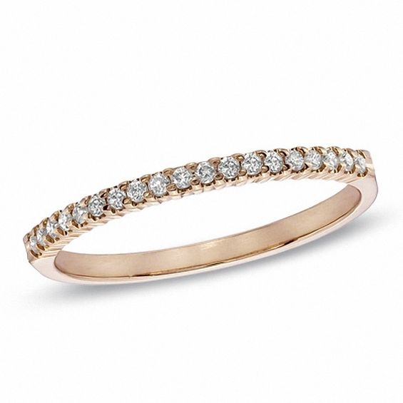 1 6 CT T W Diamond Wedding Band in 10K Rose Gold Wedding Bands