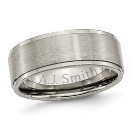Men's 8.0mm Engraved Titanium Ridged Edge Wedding Band (18 Characters)