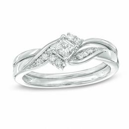 1/4 CT. T.W. Princess-Cut Diamond Bridal Set in 10K White Gold