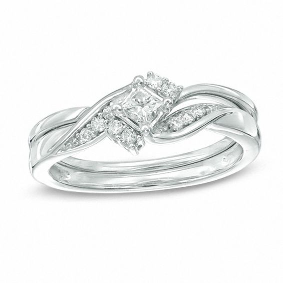 1 4 CT T W Princess Cut Diamond Bridal Set in 10K White Gold