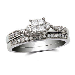 1/3 CT. T.W. Quad Princess-Cut Diamond Bridal Set in 10K White Gold