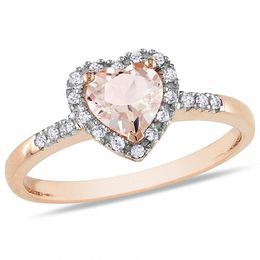 6.0mm Heart-Shaped Pink Morganite and 1/10 CT. T.W. Diamond Frame Ring in 10K Rose Gold