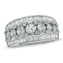 2 CT. T.W. Round and Baguette Diamond Anniversary Band in 14K White Gold