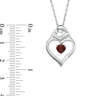 Heart Shaped Garnet Motherly Love Pendant In Sterling