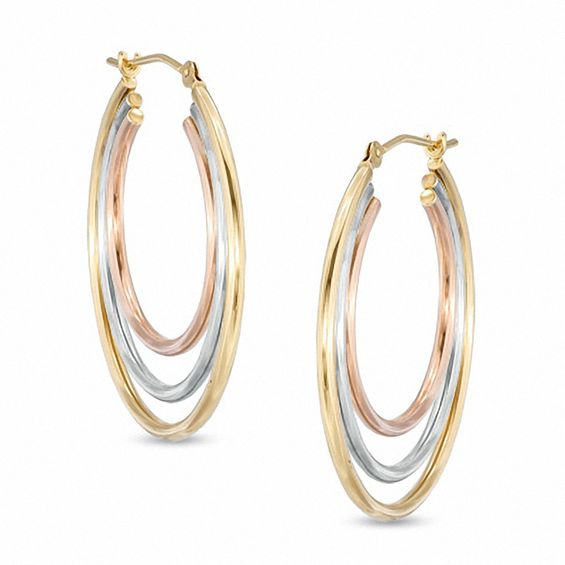 Zales Multi-Row Twist Hoop Earrings in 14K Tri-Tone Gold DTJxfBBK