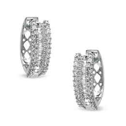 1/2 CT. T.W. Round and Baguette Diamond Hoop Earrings in 10K White Gold