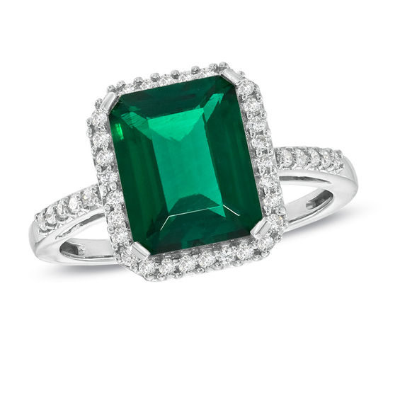 Lab Created Emerald And White Sapphire Ring In Sterling