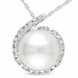 8.0 -8.5mm Cultured Freshwater Pearl and Diamond Accent Pendant in 10K White Gold - 17""